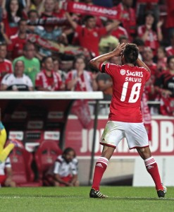 Benfica's Salvio celebrates his goal against Pacos de Ferreira during their Portuguese Premier League soccer match in Lisbon