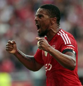 Benfica's Eliseu celebrates his goal against Moreirense during their Portuguese Premier League soccer match at Luz stadium in Lisbon
